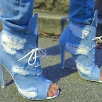 Women Blue Denim Jeans Peep Toe Lace Up Front  Heel
