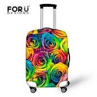 FORUDESIGNS new fashion flower luggage protective cover women travel accessories for 18-28 trolley suitcase floral elastic cover