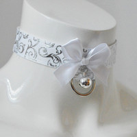 Kitten play collar - Lilly of the valley - ddlg bdsm proof princess adult daddy kink costume - white and silver petplay pet play bell choker