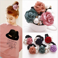 2016 Fashion New Elastic Hair Bands Pearl Flower Headband Solid Accessories Plastic Bow Ring Ornaments For Women Girls Jewelry