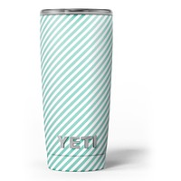 The Mint and White Vertical Stripes - Skin Decal Vinyl Wrap Kit compatible with the Yeti Rambler Cooler Tumbler Cups