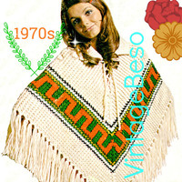 DIGITAL PATTERN •  Poncho KNITTING Pattern • PdF Pattern • 1970s Vintage Poncho • Do you see a Mexican influence or a Greek Key • Retro Fun