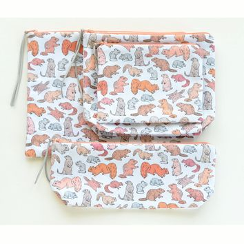 Cute Gnawing Rodents Zipper Pouch