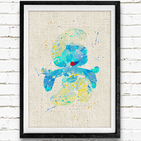 The Smurfs Clumsy Watercolor Art Print, Kids Decor, Wall Art, Home Decor, Not Framed, Buy 2 Get 1 Free!