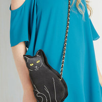Black Cat To The Chase Crossbody Chain Bag