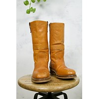 Vintage Whiskey Leather Steel Toe Western Work Boots | 9 D