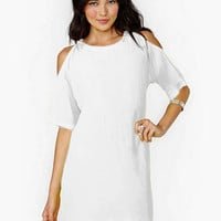 White Loose Fitting Cut-Out Sleeve Mini Dress