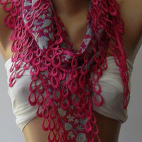 Pink  - Elegance Shawl / Scarf with Lace Edge