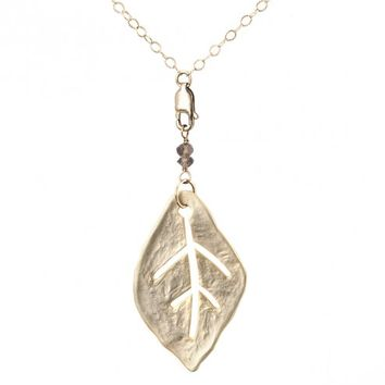 Circle & Square | Leaf Necklace - JEWELRY - SHOP