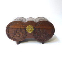 Vintage unusual 1950s chinese carved wood barrel jewellery box