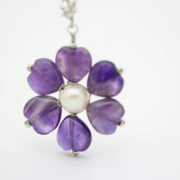 Wired necklace, real pearl necklace,  amethyst necklace, unique handmade gift, wedding jewelry