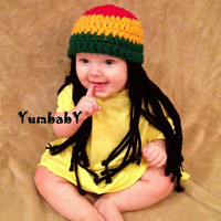 READY TO SHIP - Size 6-12 months baby Rasta Hat Halloween costume