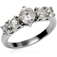 Stainless Steel CZ Round Engagement Ring Size 5/6/7/8/9/10:Amazon:Jewelry