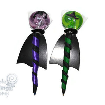 Vampire or Witch Lollipen, Lollipop, Candy Pen, Halloween, Witch, Vampire, Candy, Party Favor, Lollipop, Favor, Lollipop Pen, Edible Pen