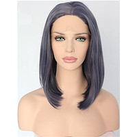 Short Leaden Straight Bob Synthetic Lace Front Wig