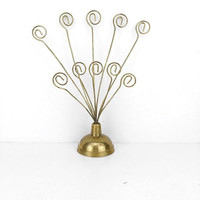 Vintage Brass Picture Tree Display Stand Holder Business Card Postcard Notes Office Desk Accessories Centerpiece Home Decor Wedding