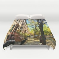 Cobble Hill Brooklyn New York in the Fall, Brownstones Duvet Cover by ANoelleJay
