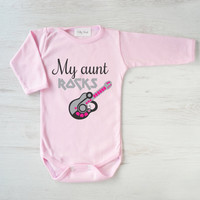 My Aunt Rocks Baby Clothing. Infant Baby Shirt. Pink Baby Girl Bodysuit. Funny Baby Clothes. Cute Baby Gift. Rocker Baby T-Shirt