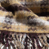 A. ELLIOT LTD. SELKIRK Scotland Pure New Wool Fine Fabric Woolens Hand Woven Blanket Throw 52 x 73 Tapestry Chevron Design Honest Collection