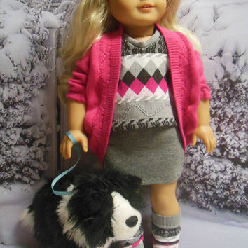 """American girl doll clothes """"A Pink and Gray Kind of Day""""  18 inch doll outfit  winter ensemble OOAK Hot pink & gray 123 Mulberry St Pattern"""