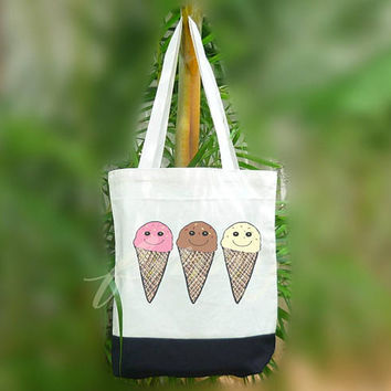 Ice cream tote bag food smile 2 size Two tone off-white/black , shopping tote bag, printed tote bags