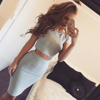 HOT TWO PIECE SHORT SLEEVE PURE COLOR DRESS