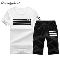 Tracksuit Men Sportswear Summer Casual Sporting Suits Short Sleeve Two Piece Set T shirt Shorts Men Clothes Sweat sets