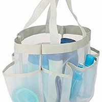 White Mesh Shower Caddy Tote - Portable, Quick Dry, Hanging Toiletries, Cosmetics and Bath Products Organizer - 7 Pockets - Mildew Resistant - by Honey-Can-Do