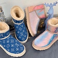 UGG x Louis Vuitton LV hot sale mid-tube snow boots laser colorful stitching plush hand-stitched non-slip plush boots fashion ladies snow boots