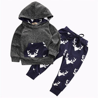 Infant Baby Kids Boys Girl Deer Print HoodedTops Sweatshirt Pant Casual Warm Outfits XMAS Set bt