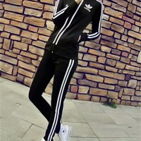 """Adidas"" Women Sport Casual Stripe Print Zip Cardigan Long Sleeve Coat Set Two-Piece Sportswear"