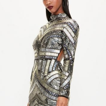 Missguided - Peace + Love Black High Neck Embellished Bodycon Dress