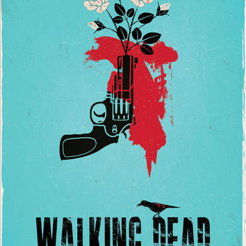 """Original Print Reinterpretation of the hit cable show, """"The Walking Dead"""" based on the Carol character"""