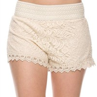 Beach Floral Lace Crochet Banded Waist Scalloped Hem Mini Shorts Pant