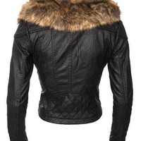 Black Faux Fur Collar Oblique Zipper Crop PU Jacket