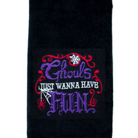 Ghouls Just Wanna Have Fun Halloween Hand Towel Kitchen and Bath Home Decor