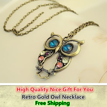 Hot Sale Discount Cheap Vintage Crystal Owl Pendant Necklace Retro Gold Chain Rhinestone Animal Necklace Women Costume Jewellery