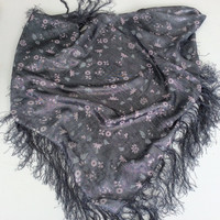 Charcoal shawl, Fancy Luxurious scarf, Hostess gift, Black Piano shawl, Sparkly Fringe scarf, Gift for Aunt, Raffle Idea for Gift Baskett