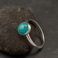 Turquoise Ring Large Turquoise Ring Silver Turquoise by Artulia