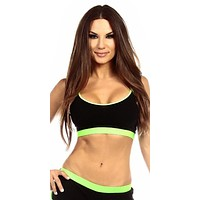 Sexy Neon Trim Fit Principle Athletic Crop Sports Bra Top - Black/Neon Green