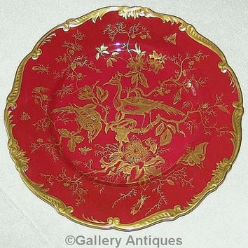 Vintage Coalport Cairo Pattern Maroon (red) and Gold exotic birds 27cm large Porcelain Cabinet / Dinner scalloped Plate c.1920's (ref: 3204)