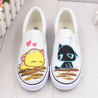 Free Shipping 2017 Summer Women Hand Painted Fashion White Low-Top Casual Flat Rihanna Creepers Best Hot Sales Shoes Women's
