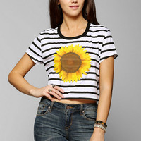 Truly Madly Deeply Striped Sunflower Cropped Tee - Urban Outfitters