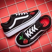 VANS Canvas Old Skool Flower Embroidery Flats Sneakers Sport Shoes