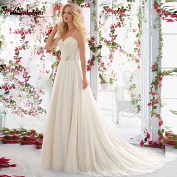 Sexy 2016 New Simple Sweetheart with Spaghetti Straps Lace Beading Backless Long Chiffon A Line Wedding Dresses