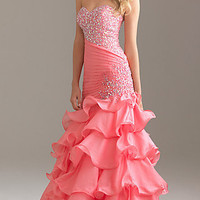 Strapless Beaded Ball Gown by Night Moves 6425