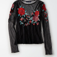 AEO Embroidered Mesh Overlay Top, True Black