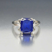 White Gold Sapphire Ring, Late Art Deco Ring, 10K Gold Ring, Unique Engagement Ring, Vintage 1940s Jewelry, Cocktail Ring, Birthstone Ring
