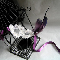 Golden Thread Embroidered Lace Mask, with Purple Feather and Ribbon, Masquerade, Party, New Year Celebrations