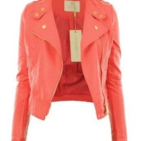 Gracious Girl Women's Diana Faux Leather Biker CropJacket Coral 4